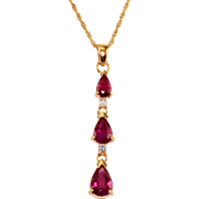 1.5 CTW Pear Ruby Diamond Drop Pendant