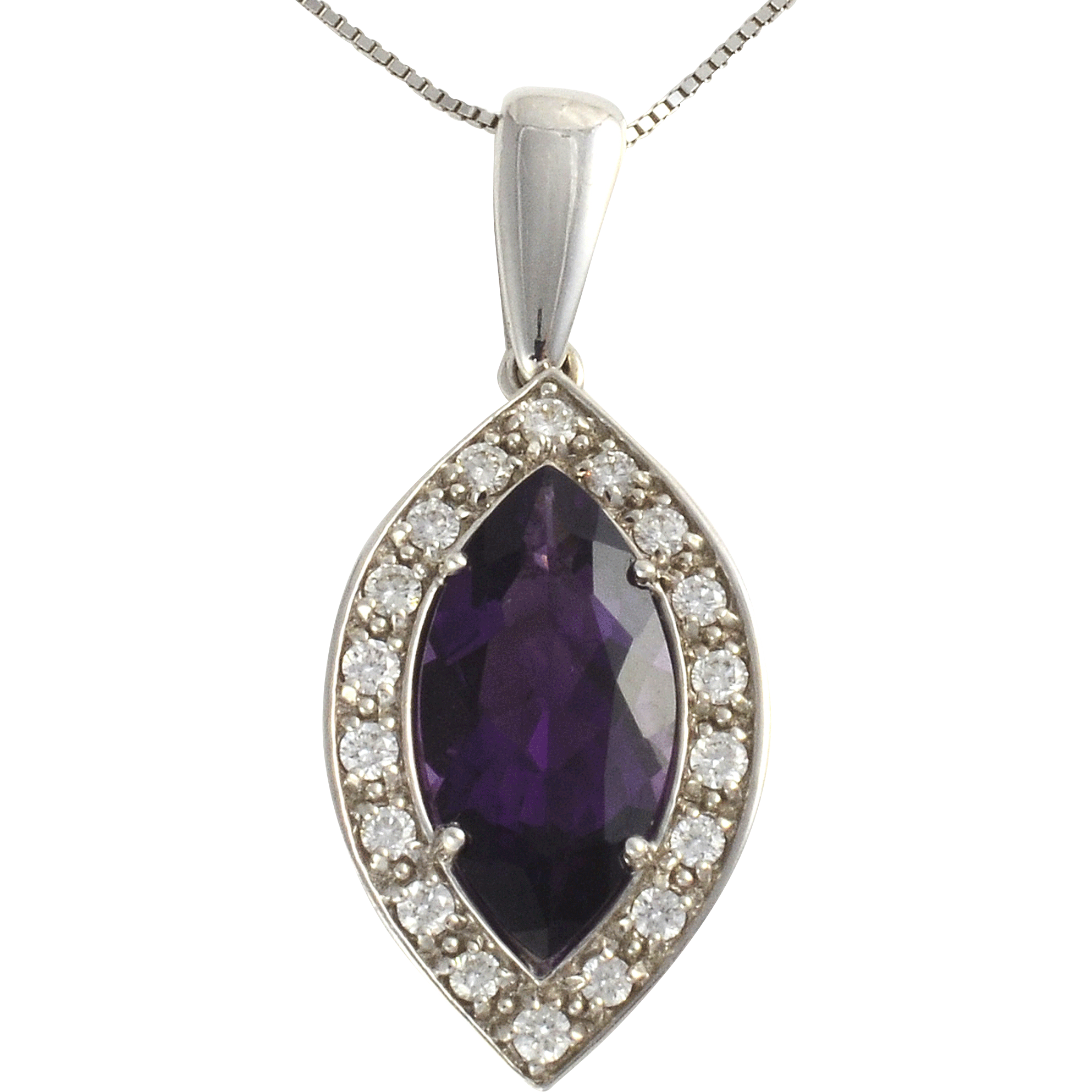 Marquise Amethyst and Diamond Pendant on Chain