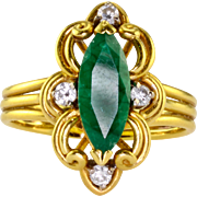 0.85 Carat Marquise Emerald Diamond 18K Ring