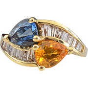 1.20 Carat Yellow Diamond and 1.40 Carat Sapphire Ring with Baguette Diamonds