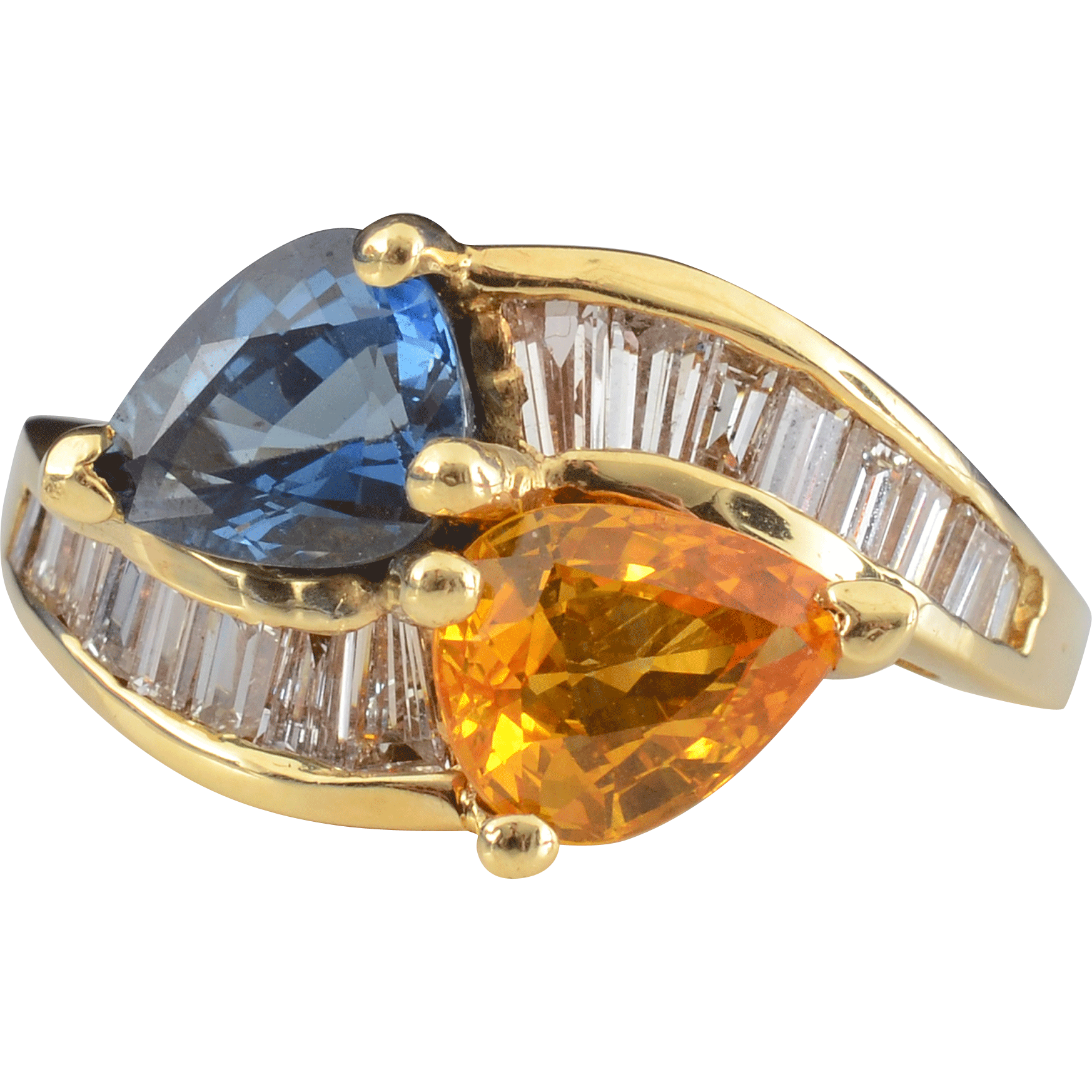 1.20 Carat Yellow Sapphire and 1.40 Carat Sapphire Ring with Baguette Diamonds