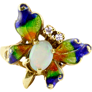 Opal Diamond Enameled Butterfly Ring