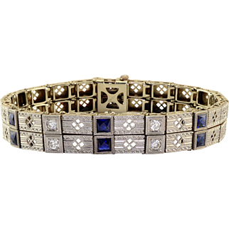 Art Deco Diamond Synthetic Sapphire Bracelet