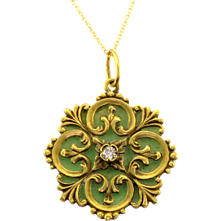 Diamond Green Enamel Pendant