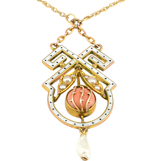 Coral Seed Pearl and Enamel Pendant on Chain