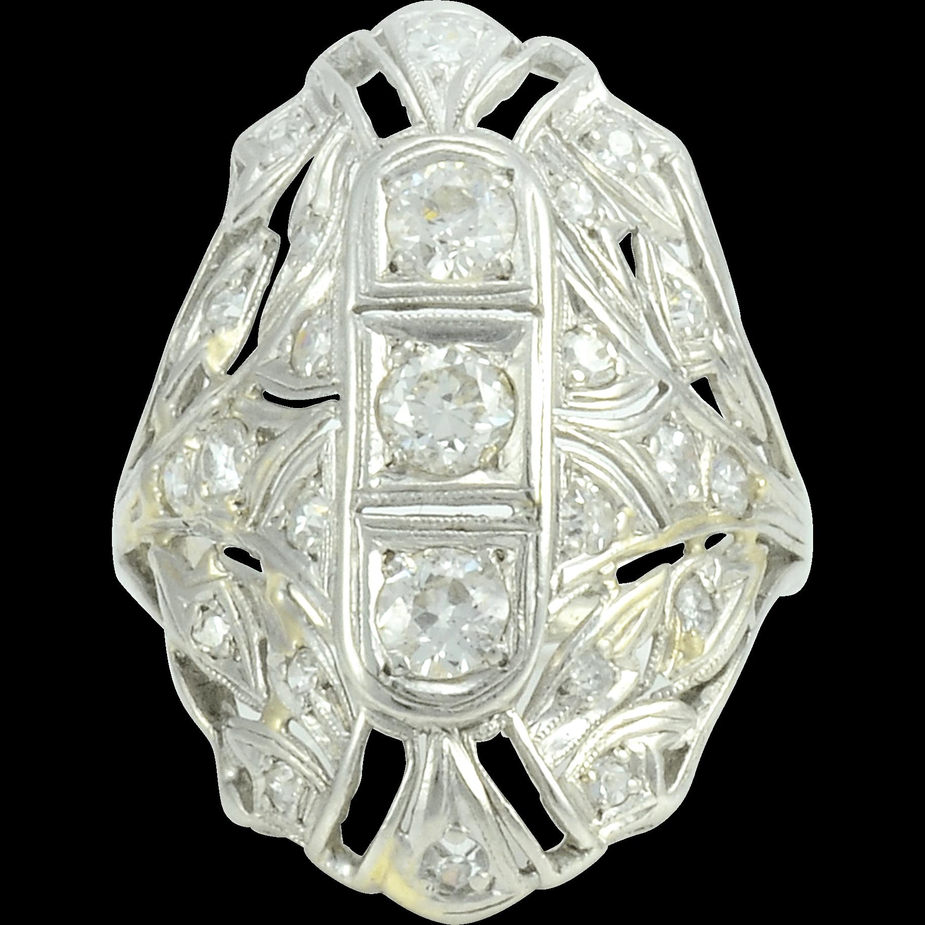 0.45 CTW Diamond Platinum Ring with 22 Accent Diamonds