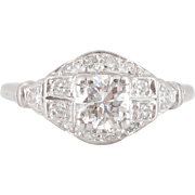 Platinum 0.50 Carat Center Diamond Engagement Ring
