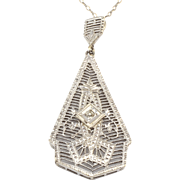 Filigree Diamond Pendant and Chain