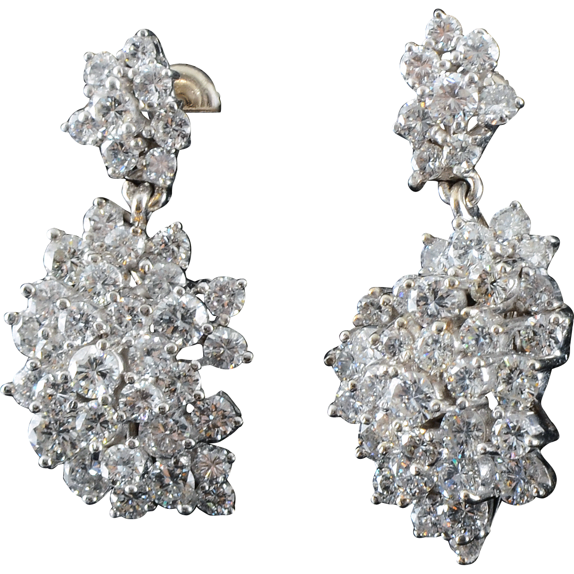 5.25 Carat Total Weight Diamond Drop Earrings