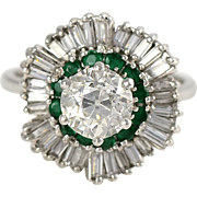 Platinum 1.75 CTW Diamond and Emerald Ring