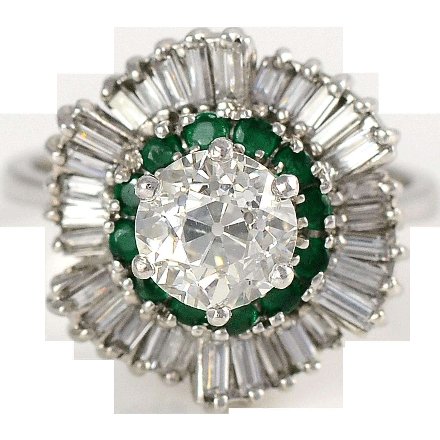 Platinum 1.75 CTW Diamond and Emerald Ring