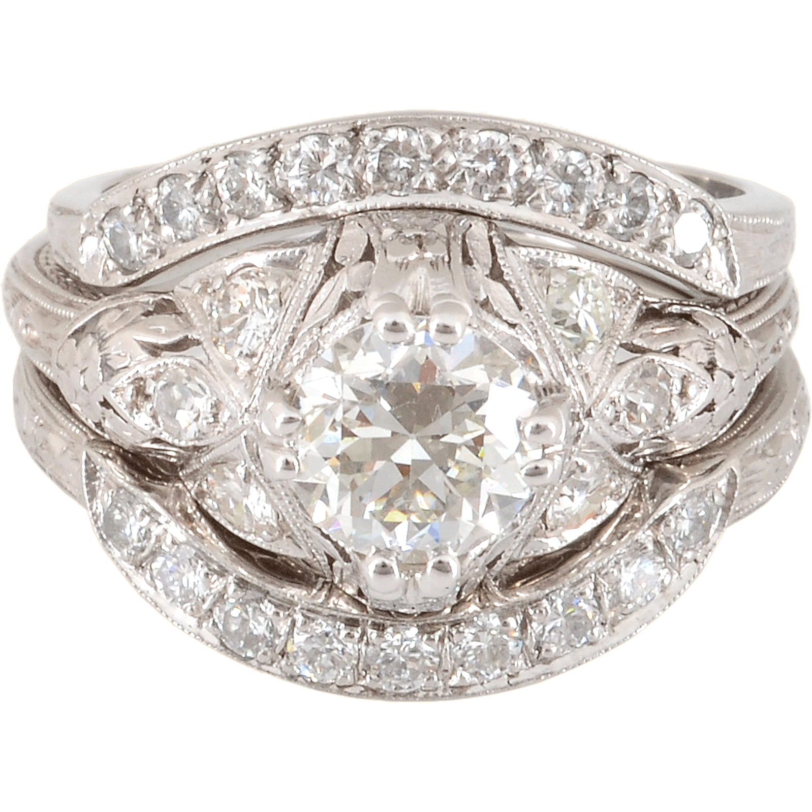 Platinum Three Piece Wedding Set with a 1.05 Carat Center Diamond