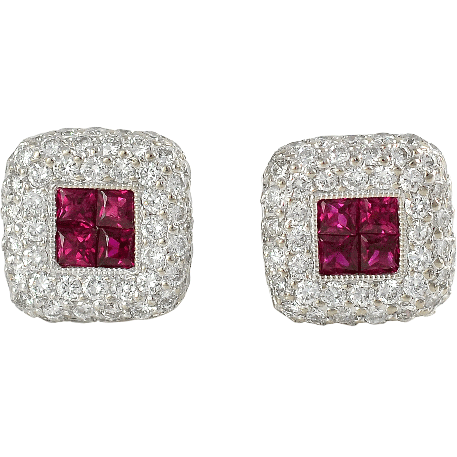 18K White Gold 1.24 CTW Diamond and Ruby Earrings
