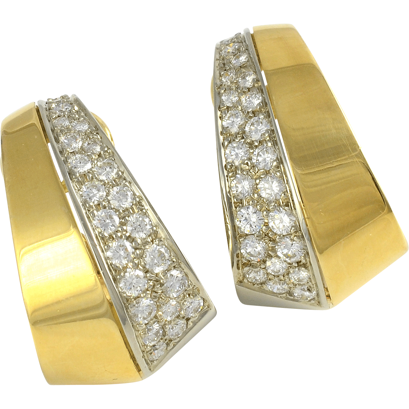 18K Gold Earrings with 1.70 CTW Diamonds