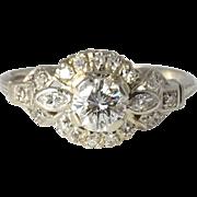 Platinum 0.54 Carat Center Diamond Engagement Ring