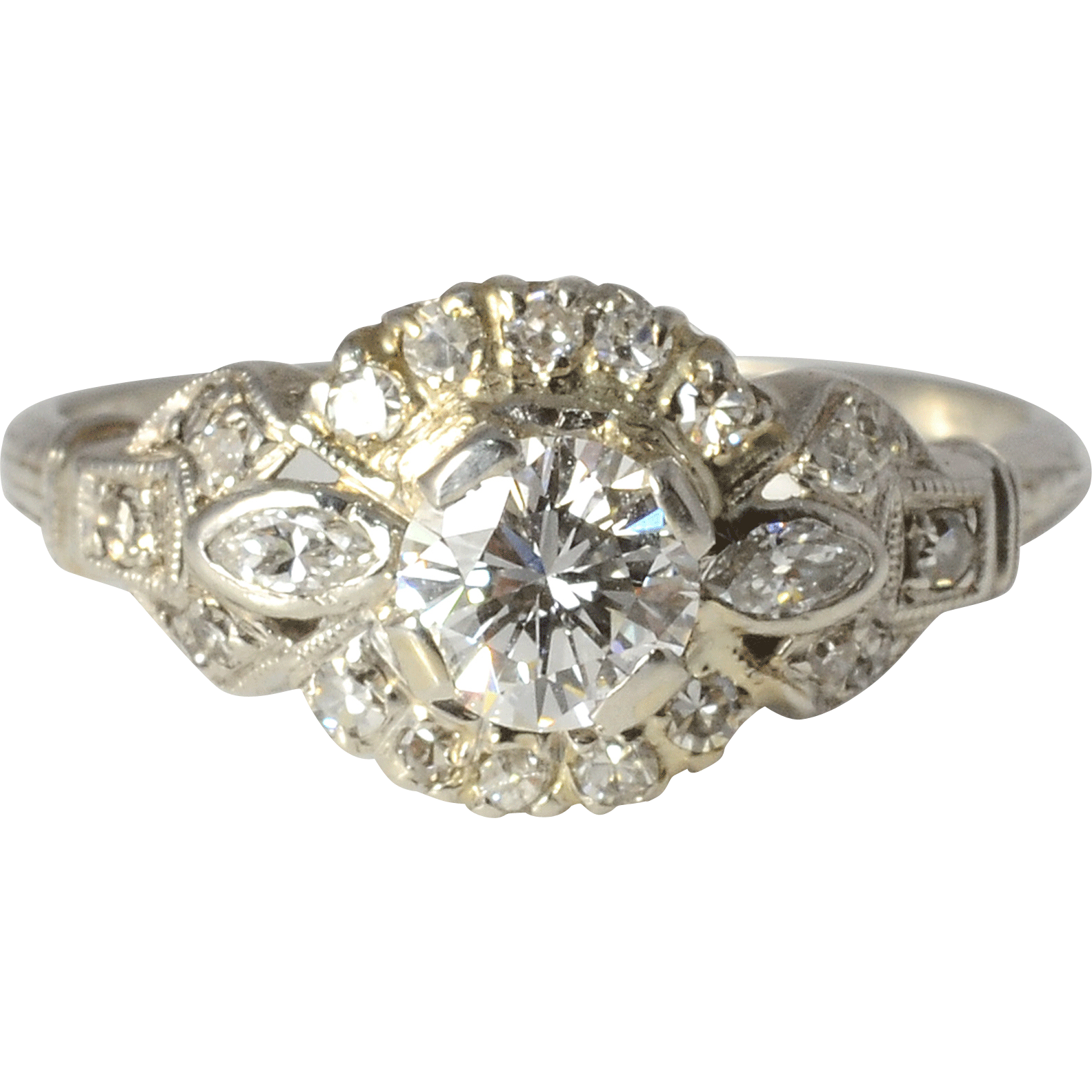 Platinum 0.54 Carat Center Diamond Engagement Ring