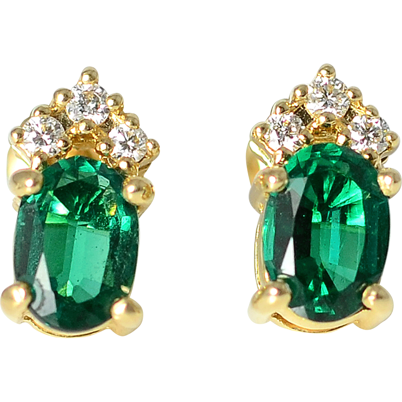 1.20 CTW Emerald and Diamond Earrings