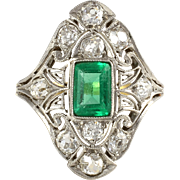 Platinum Edwardian Emerald and Diamond Ring