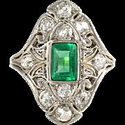 Platinum Edwardian Emerald and Diamond Ring
