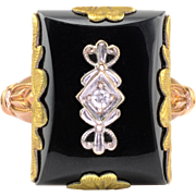 Rectangular Onyx and Diamond Ring