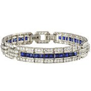 Platinum Art Deco Diamond and Sapphire Bracelet