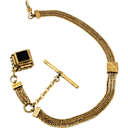 Onyx Fob Slide Gold Filled Watch Chain