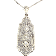 Three Diamond Filigree Pendant
