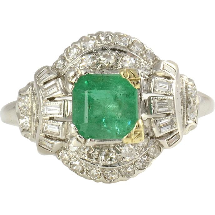 Platinum 0.93 Carat Emerald Ring with Diamonds