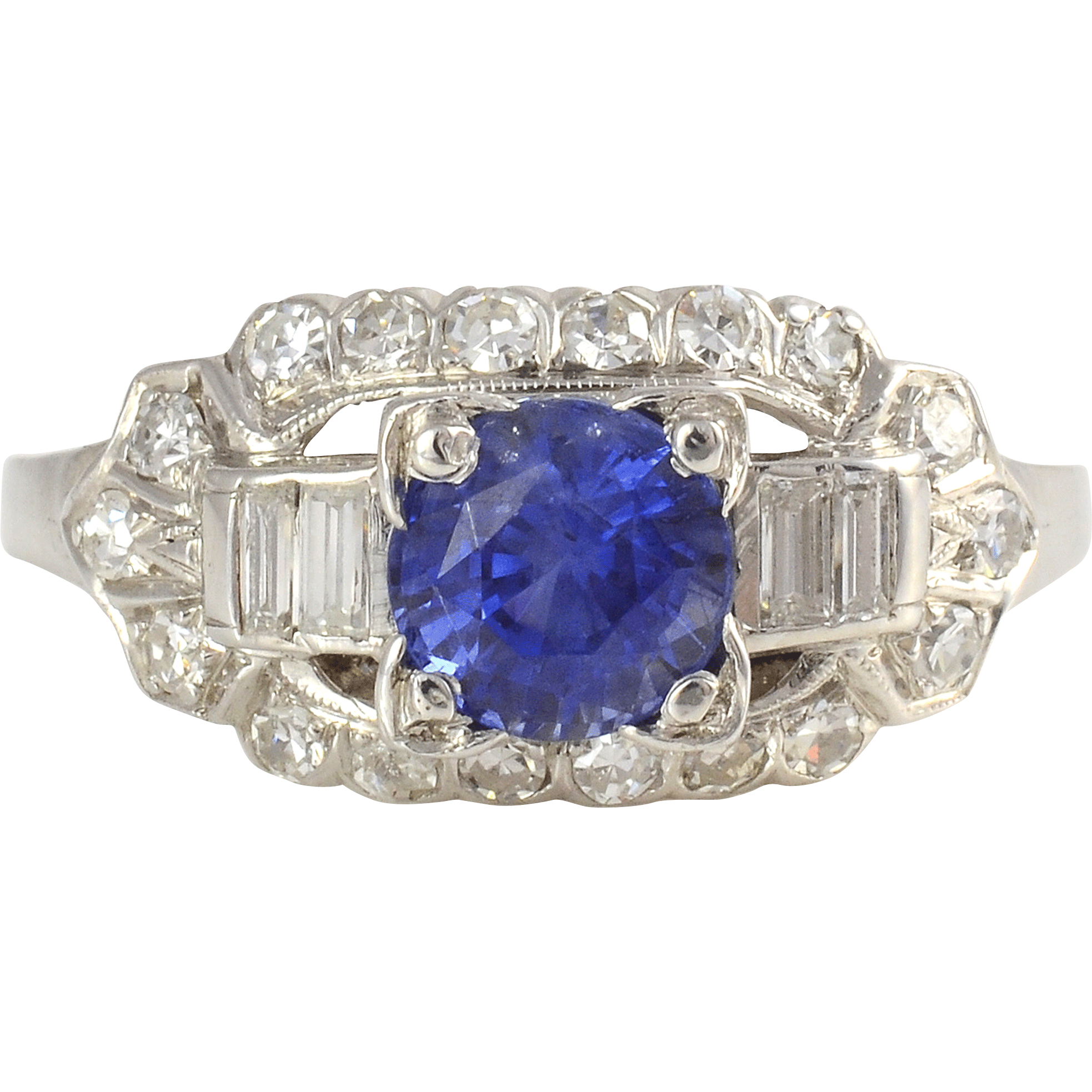Platinum 1.52 Carat Sapphire Ring with Diamonds