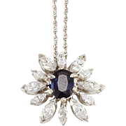 1.30 Carat Sapphire and Diamond Flower Pendant