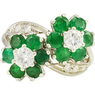 18 Karat White Gold Floral Design Emerald and Diamond Ring