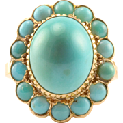 Oval Turquoise Floral Ring