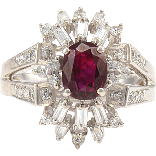 1.14 Carat Oval Ruby Ring With Diamonds