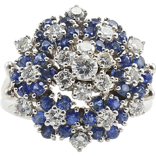 Sapphire and Diamond Floral Design Ring