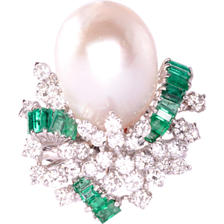 Baroque Pearl Emerald and Diamond Ring