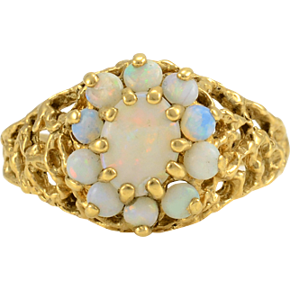 Yellow Gold Opal Cluster Ring