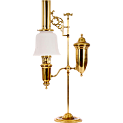 Aladdin Brass Oil Lamp With Milk Glass Shade