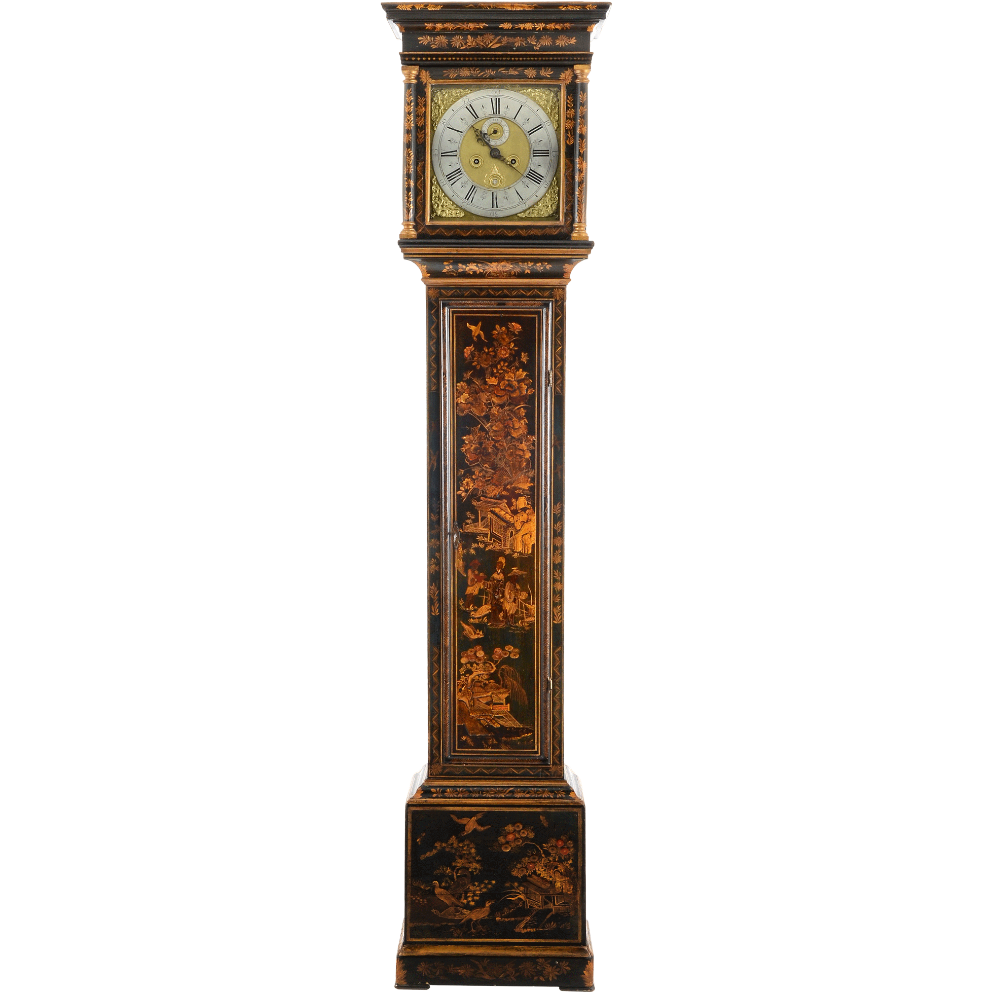 English Chinoiserie Tall Case Clock Signed Hen. Stockar