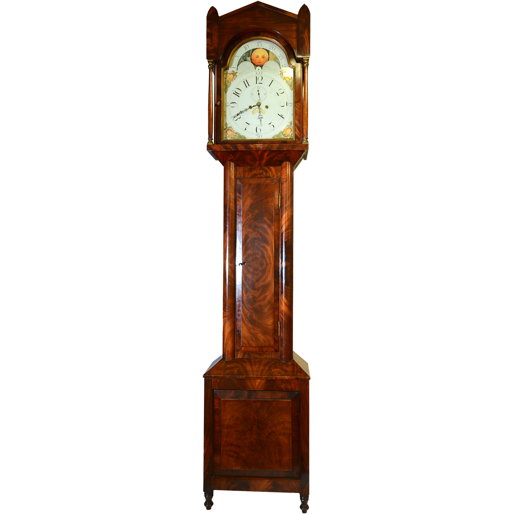 American Tall Case Clock in Flame Mahogany