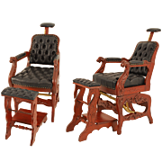 Pair of Ornately Carved Barber Shaving Chairs