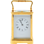 French Gilt Brass Corniche Case Carriage Clock