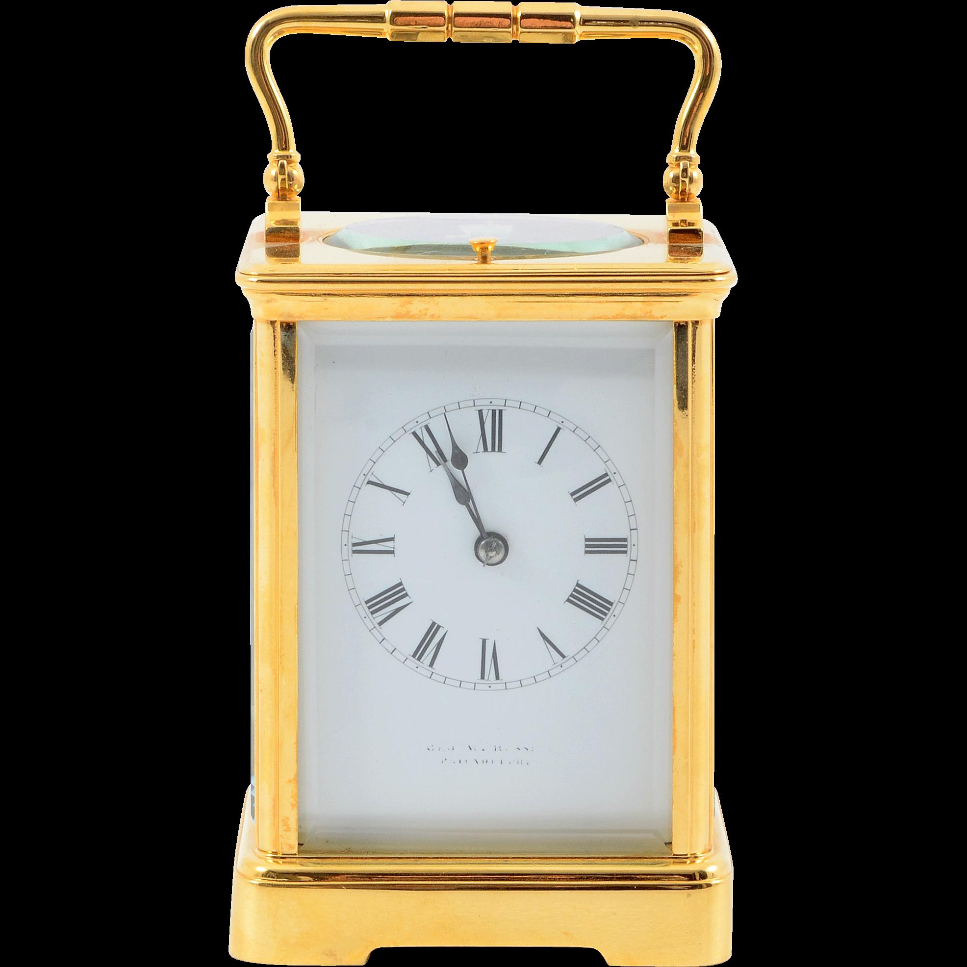 French Gilt Brass Corniche Case Carriage Clock