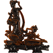 Indian Tiger Eye Carving of Female Dancer and Musician
