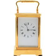 French 18 Karat Gilt Brass Carriage Clock by Soldano of Paris