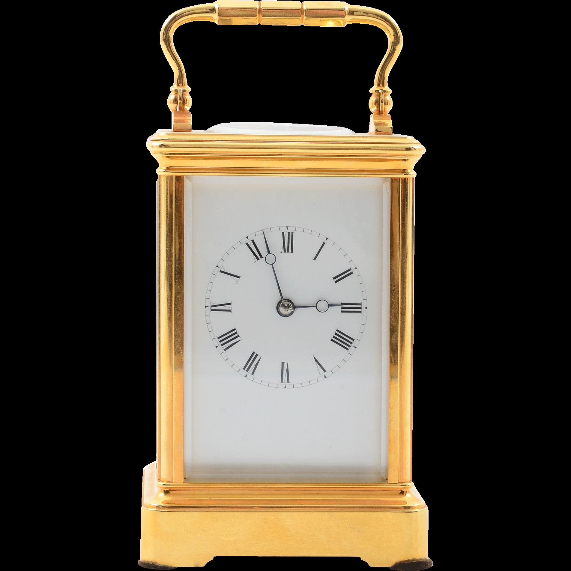 French 18 Karat Gilt Brass Carriage Clock by Soldano of Paris