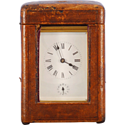 French Grand Sonnerie Carriage Clock in Original Leather Case