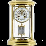 French Oval Crystal Regulator Mantel Clock