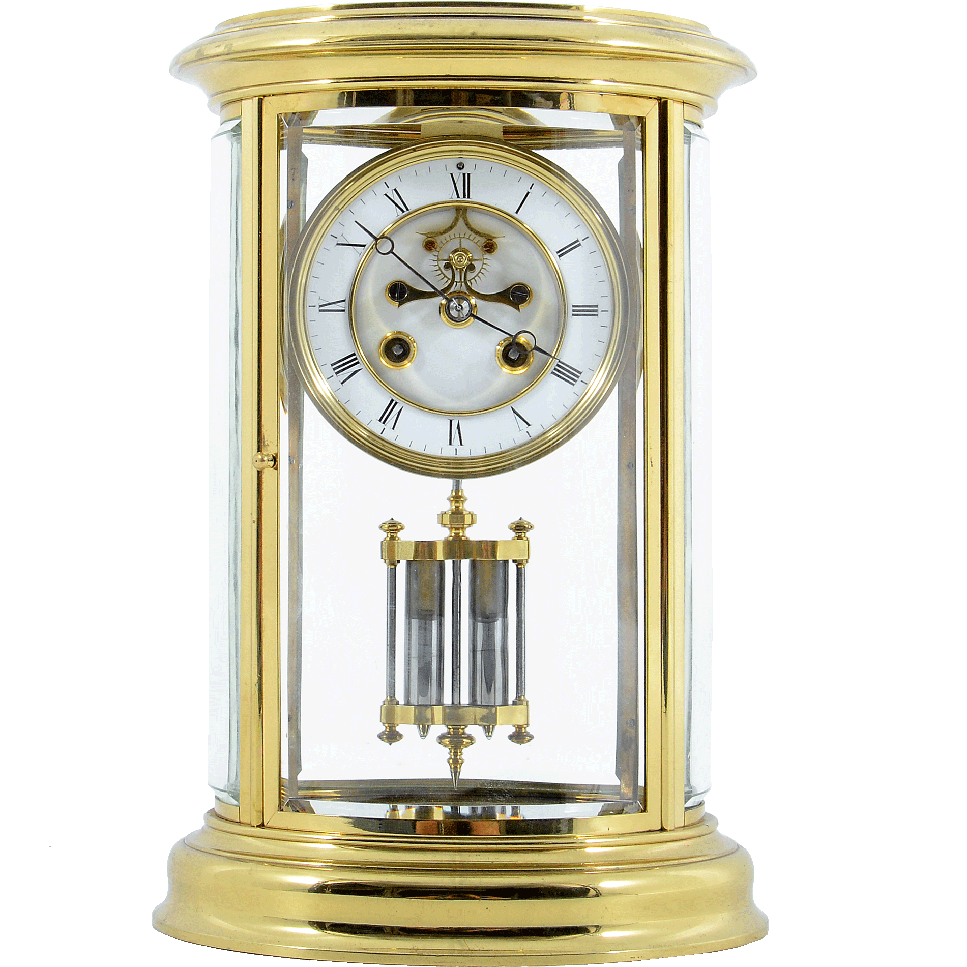 French Oval Crystal Regulator Mantel Clock