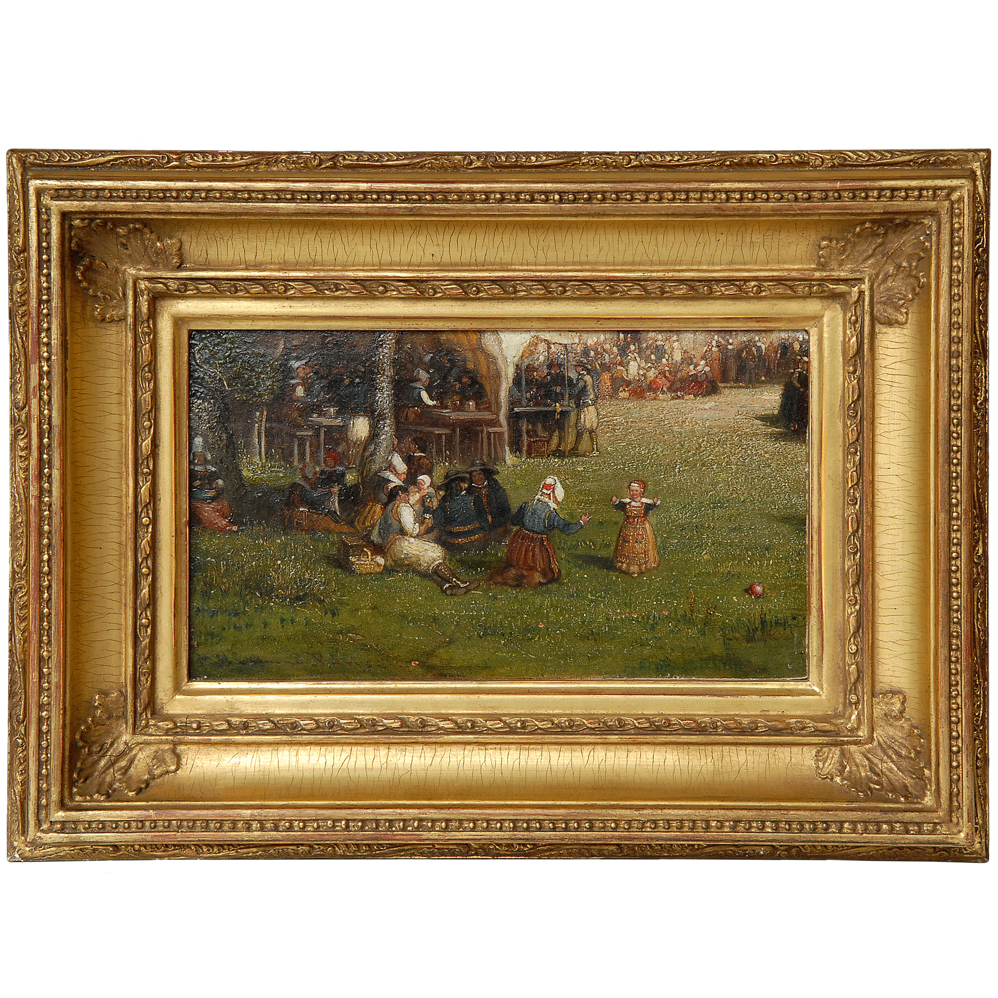Oil Painting on Board of a Picnic by Samuel Colman