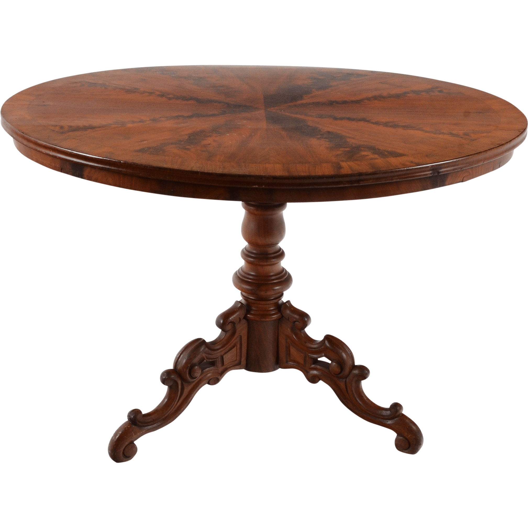 American Victorian Flame Mahogany Oval Table